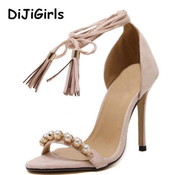 Roman Style Summer Shoes Women Tassel high-heeled sandals Pearl Beaded Ankle straps Sexy Stiletto/Party Wedding pumps Shoes