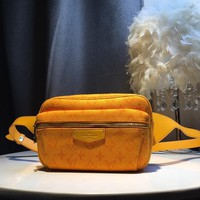 Kuyou Gb39724 Lv Louis Vuitton Monogram Yellow Denim Bags All Collections Outdoor Bumbag 21.0 X 17.0 X 5.0 Cm