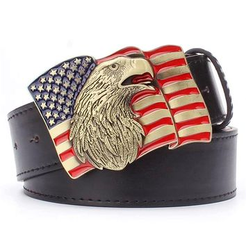 US flag belt copper buckle metal belt american Eagle popular punk Decorative strap gift for men european and American style belt
