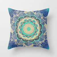 Midnight Bloom - detailed floral doodle in gold, navy blue & mint Throw Pillow by Micklyn