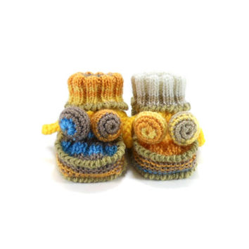 Hand Knitted Baby Booties - Yellow and Blue, 0 - 3 months