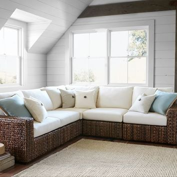 Seagrass Square Arm 5-Piece Sectional