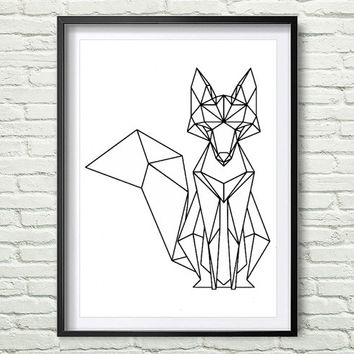 Fox Geometric Mosaic Printable File Geometric Black and Whith Woodland Animals Modern Wall Art Digital Print *4*