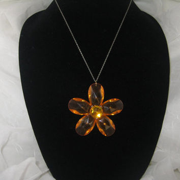 "Vintage Necklace Clear Lucite Orange Flower with 18"" Chain"