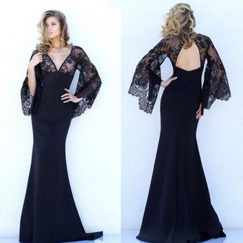 Black Patchwork Lace Backless Mermaid Plunging Neckline Masquerade Ball Maxi Dress