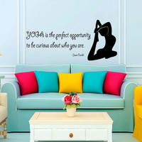 Wall Decals Girl Quote Yoga Is The Perfect Opportunity To Be Curious About Who You Are Decal Vinyl Sticker Interior Design Gym Decor KG824