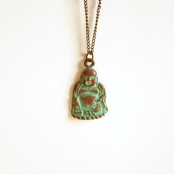 Buddha necklace boho style jewelry, Asian necklace bohemian jewelry, Layered boho green patina necklace, Buddhist necklace yoga jewelry
