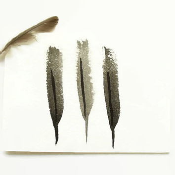 feathers card // hand painted card