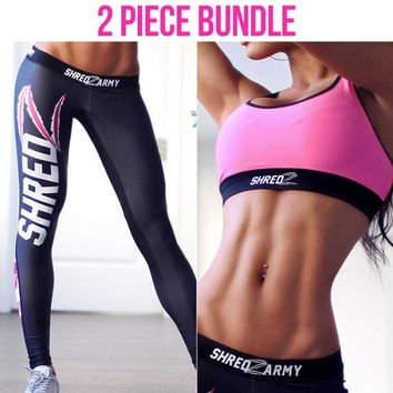 Neon Pink Sports Bra + Shredzarmy Camo Pink Leggings