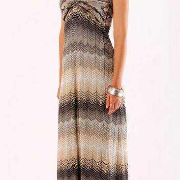 Beige Zig Zag Jacquard Knit Maxi Dress