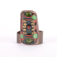 Copper handmade ring ethnic stylish enameled jewelry designer's women's present