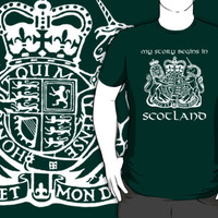 Cool 'My Story Begins in Scotland' Coat of Arms T-Shirt and Gifts