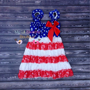 Patriotic dress 4th of July dress Lace by MyLilSweetieBoutique