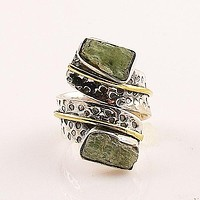 Green Kyanite Two Tone Sterling Silver Ring