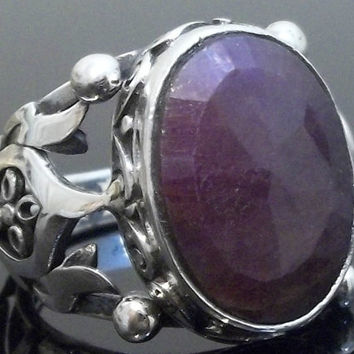 925 Sterling Silver Men's Ring with Totally Handmade Absolutely Unique Precious Real Ruby