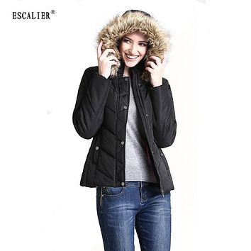 ESCALIER 2016 Vogue Design Warm Long Sleeve Solid Winter Thick Women Parkas Fur Collar Hooded Ladies Coat Free Shipping