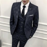 Pattern Plaid Suits For Men 3 Piece Costume Homme Mariage Blue 3 Colors Smoking Masculino Slim Suit Business Men's Dress Suits