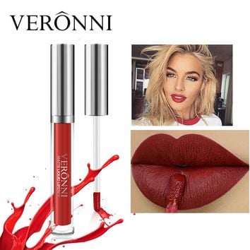 2017 New Brand Lips Matte Make Up Gloss Color Cosmetics Long Lasting Pigment Sexy Red Nude Velvet Liquid Lipsticks Matte Makeup