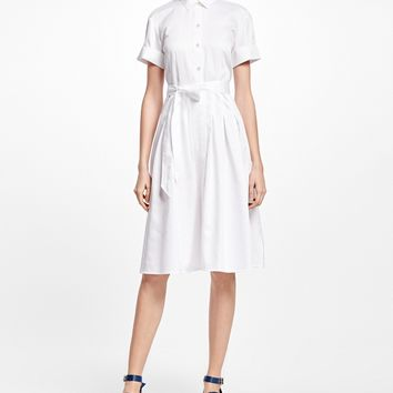 Cotton Sateen Shirt Dress - Brooks Brothers