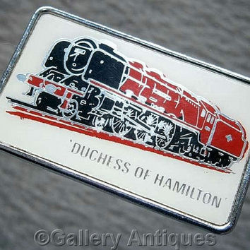 Vintage retro The Duchess of Hamilton Chrome and Enamel diesel train railway Pin / Lapel Badge by Clubman c.1980's (ref: 3206)