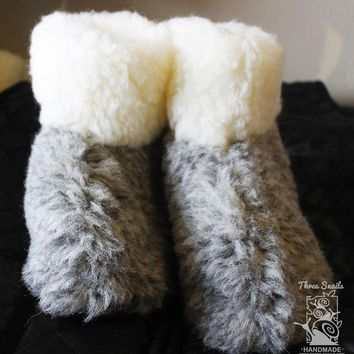 CHEN1ER Wool ugg children slippers 'Grey Elephant'