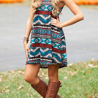 Sleeveless Bohemian Mini Dress