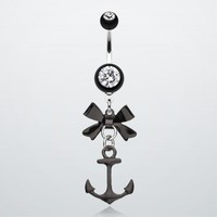 Cute Anchor Bow-Tie Belly Button Ring