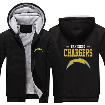 NFL American football Men's winter casual jacket Warm thicken hoodies San Diego Chargers