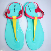 Candy Color Jelly Flat Sandals