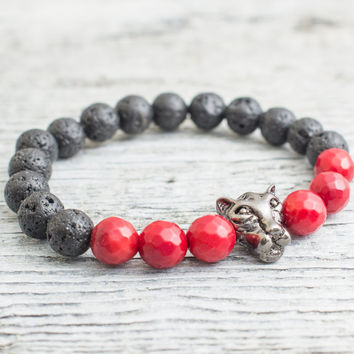 Black lava stone and faceted red coral beaded gunmetal black Leopard head stretchy bracelet,  mens bracelet, womens bracelet