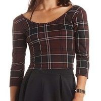 Double Scoop Plaid Crop Top by Charlotte Russe - Black Combo