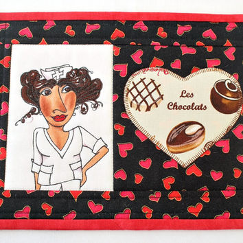 Nurse Mug Rug, Quilted Mug Rug, Medical Snack Mat, Black with Red Hearts, Gift for Nurse, Valentine's Day, Quiltsy Handmade