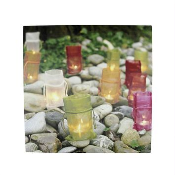 """LED Lighted Flickering Garden Party Colorful Candle Bags Canvas Wall Art 11.75"""" x 11.75"""""""