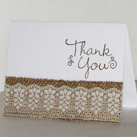 Burlap and Lace Wedding Thank You Card set
