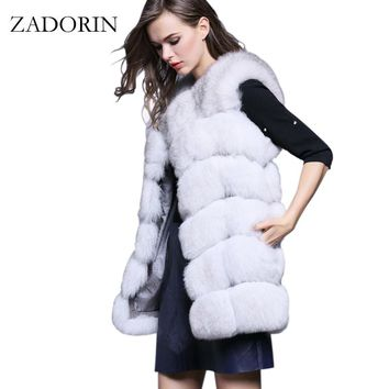 S-4XL Female Fur Waistcoat 2017 New Winter Warm Faux Fox Fur Vest Women High-Grade Cappa Fashion O-Neck Long Fur Coat Cardigan
