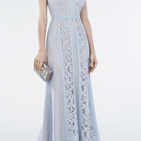 White/Grey BCBG Ariella Lace-Blocked Halter Gown