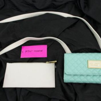Betsey Johnson Wallet On A String Purse Cross-Body Mint Blue Off White Crossbody