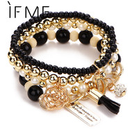 2015 New Vintage Letter D Multilayer Flower Rhinestone Ball Metal Bead Bracelet For Women Fashion Jewelry High Quality PD26
