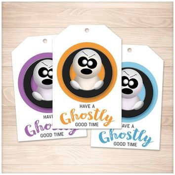 Halloween Ghost Gift Tags - Purple Orange Blue - Printable