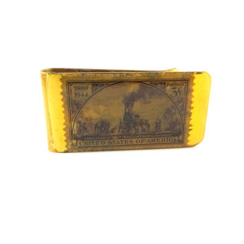 Vintage Brass Money Clip with 1944 Stamp of Transcontinental Railroad