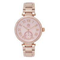 Michael Zweig Ladies Multifunction Crystal Accent Stainless Steel Watch