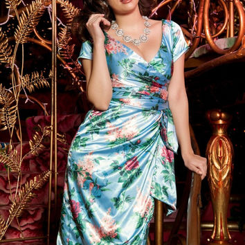 Pinup Couture Ava Dress in Blue Floral