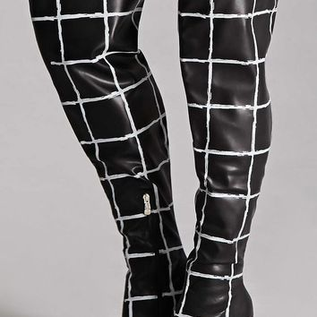 Thigh-High Grid Pattern Boots