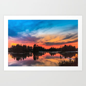 Summer Sunset over Lake Art Print by Svetlana Korneliuk