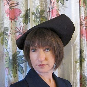 Vintage 1930s or 1940s Asymmetrical Hat Black Top by BasyaBerkman