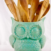 Large kitchen utensil holder ceramic owl