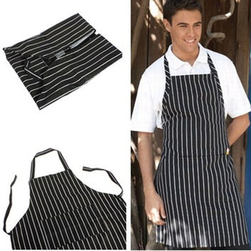 Polyester Stripe Bib-Black Adult Apron