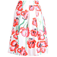 Rose Floral Print Pleated Swing Skirt