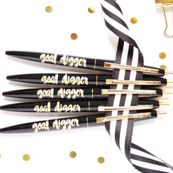 Goal Digger Pens in Black and Gold - Set of 5