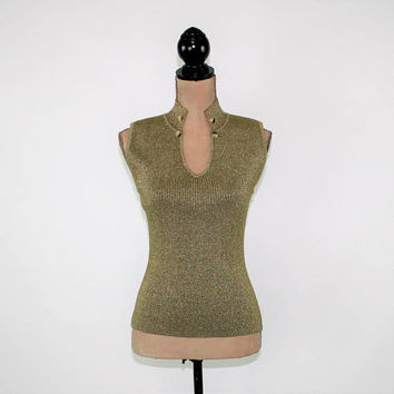Olive Green Knit Top Sexy Sleeveless Sweater Women Sparkly Dressy Top V Neck Club Top Evening Party Top Small Medium Womens Clothing